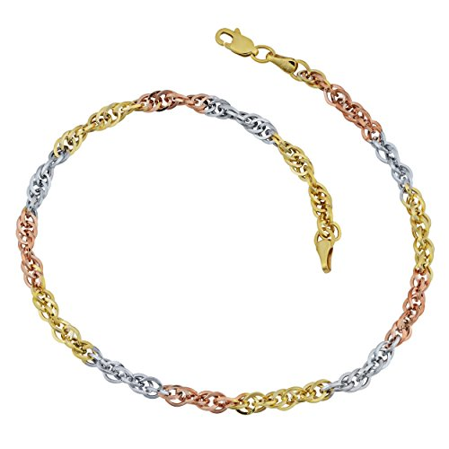 Kooljewelry 10k Tricolor Gold Double Cable Link Anklet (10 inch)