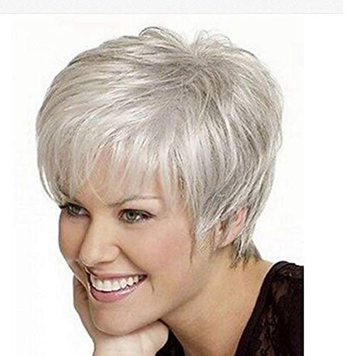 SL Women's Stylish Short Fluffy Wavy Silver White Synthetic Wigs ()