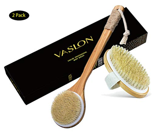 VASLON Natural Boar Bristles Bath Body Brush,Dry Brushing Body Brush, Boar Bristles Exfoliating Body Massager with Long Wooden Handle& No Handle 2Pcs for Dry Brushing