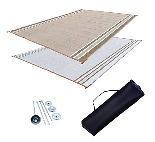 Professional EZ Travel Collection RV Patio Mat Awning Mat Outdoor Leisure Mat 9x12 Beige Complete Kit