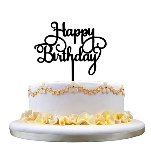 Deesee(TM) New Wall StickersNew Happy Birthday Acrylic Cake Topper Decor Silver Gold Party Supplies Decor (C)