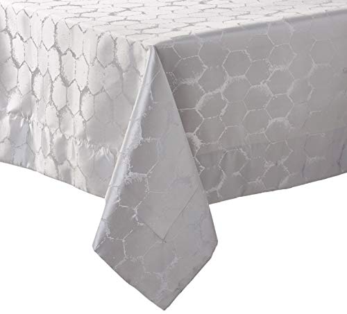 (Violet Linen Premium Honeycomb Damask Seats 8 to 10 Pepole, Rectangle, Polyester Jacquard, Tablecloth 70