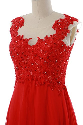 MACloth Women Lace Chiffon Short Prom Dress Wedding Party Formal Homecoming Gown Marrón