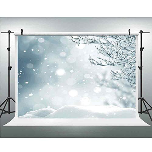 Seamless Vinyl Photo Backdrop,Winter,Photography Background Red Wood Backdrop,10x10ft,Christmas Themed Image Snow and Frosted Tree Snowflakes Winter Season Illustration Decorative ()