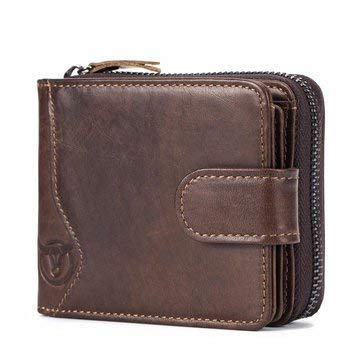 Bullcaptain Cowhide Short Wallet Zipper Coin Bag with 16 Card Slots - Men's Bags Wallets - (1)