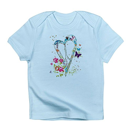 Royal Lion Infant T-Shirt Flowered Butterfly Heart Peace Symbol - Sky Blue, 18 to 24 Months