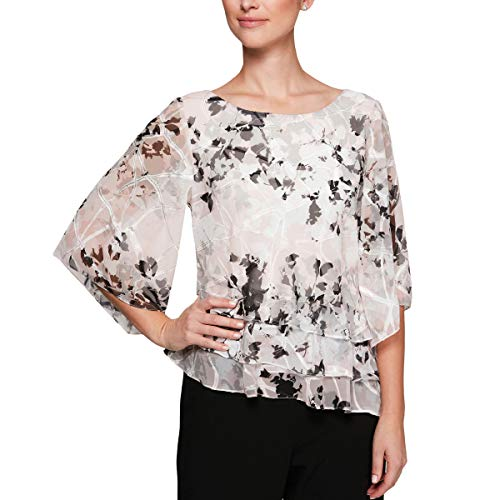 Top Sleeve Tiered (Alex Evenings Women's Asymmetric Tiered Chiffon Blouse Shirt (Missy and Petite), White/Black/Blush, S)