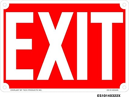 Amazon.com: Everlast Sign, 10x14 in, EXIT, White on Red ...
