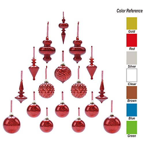 youseexmas Mouth Blown Glass Christmas Ornaments Pack of 17 Medium Size (red) ()