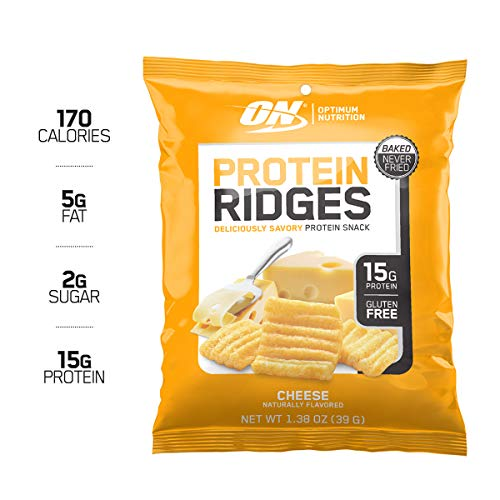 Optimum Nutrition High Protein Ridges, Baked Chips, Savory Snack to Go, Gluten Free, Soy Free, Flavor: Cheese, 10 Count