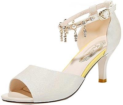 T&Mates Womens Charming Peep Toe Ankle Strap Rhinestone Tassels Cutout Mid Heel Sandals