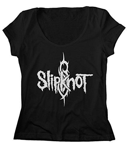- JDS Women's Scoop Neck Slipknot T-Shirt American Nu Metal Band (L, Black)