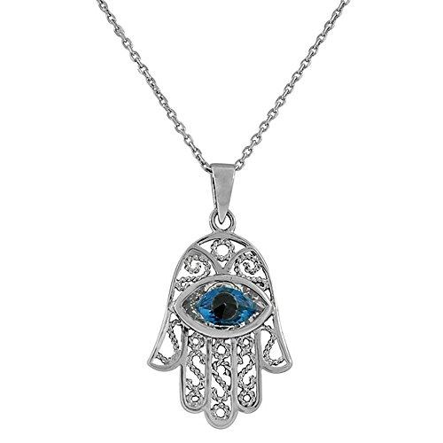 Sterling Silver Filigree Pendant - 925 Sterling Silver Evil Eye Hamsa White Blue CZ Filigree Womens Pendant Necklace