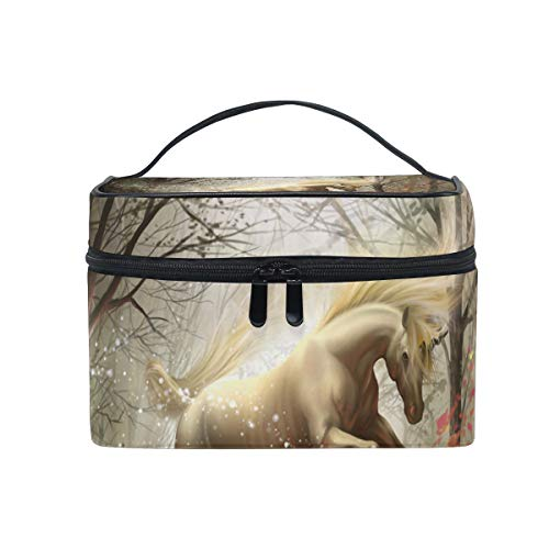 All agree Toiletry Bag Unicorn in The Forest Womens Beauty Makeup Case Brush Cosmetic Organizer