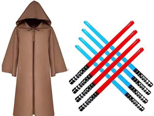 (Majika Hooded Cloak for Star Wars Parties -Kids Brown Size Small 45 inches with 4 Red and 4 Blue Inflatable Swords- Kids & Adults Halloween Costume, LARP, Dress Up, Cosplay - Jedi, Vader)