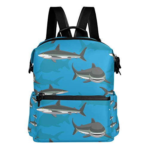 TARTINY Silky Shark Cartoon Background Seamless Wallpaper Laptop Backpack Leather Strap School Bag Outdoor Travel Casual Daypack