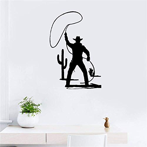 Vinyl Wall Decals Quotes Sayings Words Art Decor Lettering Vinyl Wall Art Wild West Cowboy Hat Western Style Horse Bull for Living Room Bedroom ()