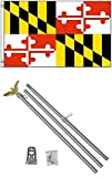 NEW 3'x5' MARYLAND State Flags Polyester w/ 6' Aluminum POLE Kits