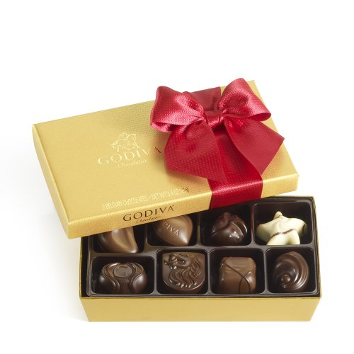 Godiva Chocolate Nuts (GODIVA Chocolatier Gold Ballotin Red Ribbon 8 Pieces)