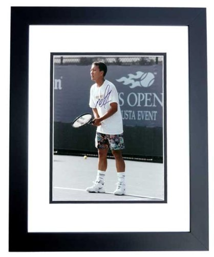 Signed Michael Chang Photograph 8x10 BLACK CUSTOM FRAME PSA/DNA Certified Autographed Tennis Photos