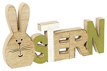 Amazon De Heitmann Deco Holz Schriftzug Ostern Mit Hase
