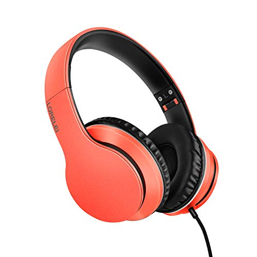 LORELEI X6 Over-Ear Headphones with Microphone, Lightweight Foldable & Portable Stereo Bass Headphones with 1.45M No-Tangle,Wired Headphones for Smartphone Tablet MP3 / 4 (Vitality Orange)