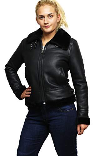 - Brandslock Womens Genuine B3 Shearling Sheepskin Leather Aviator Vintage Flying Bomber Jacket (XL, Black)