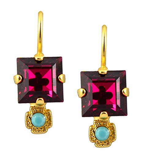 Mariana Gold Plated Happy Days Petite Square Fuchsia and Aqua Crystal Drop Earrings