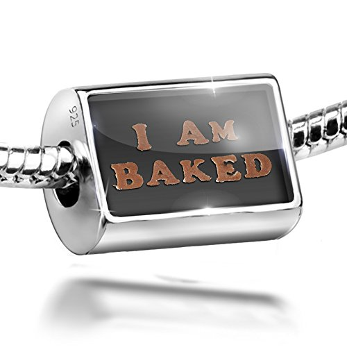 Iams Biscuit - Sterling Silver Bead I Am Baked Sweet Biscuit Pastry Charm Fits All European Bracelets