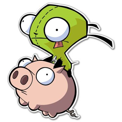 Zims Head - Invader Zim flying Vynil Car Sticker Decal - Select Size