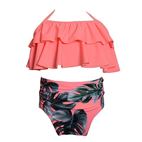 WeDream Girls Lovely Flounce Bikini 2 Piece Pink Halter High Waisted Floral Swimsuit Bathing Suit 116 by WeDream