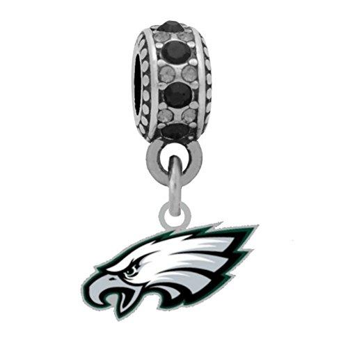 (Final Touch Gifts Philadelphia Eagles Logo Charm Fits European Style Large Hole Bead Bracelets)