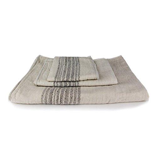 Kontex Organic Cotton Towels From Imabari, Japan - Bath Towel, Hand Towel & Washcloth, Beige/Brown (Set of 3) by Kontex