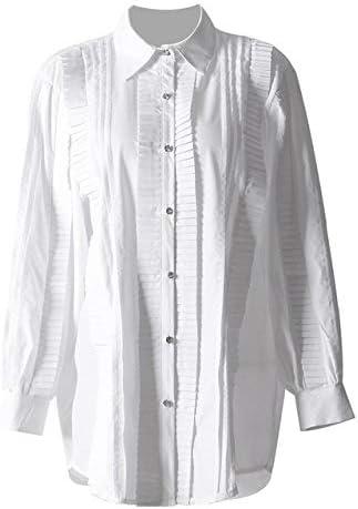 SETGVFG Camisas De Patchwork Plisadas Gruesas Blusa Mujer ...