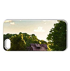 abandoned stone house in a clearing - Case Cover for iPhone 5 and 5S (Houses Series, Watercolor style, White)