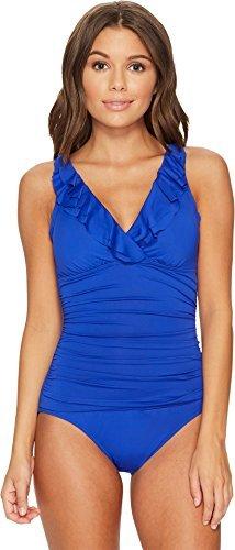 Lauren Ralph Lauren Women's Beach Club Ruffle Mio One-Piece Capri Blue (Mia Womens Capri)