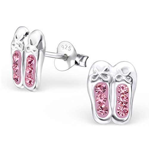 Pink Shoes Ballet Ear Studs Crystal Girls Children Earrings 925 Stering Silver (E25105)