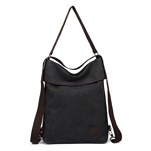 Crossbody Casual Black Bag Shoulder DLMBB Backpack Women Travel Multifunction Canvas Daypack Purse q7xP08B