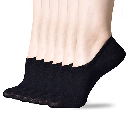 Sioncy No Show Socks for Women, Cotton Invisibale Socks, Non Slip Flat Boat Line Socks 6 Pairs Black