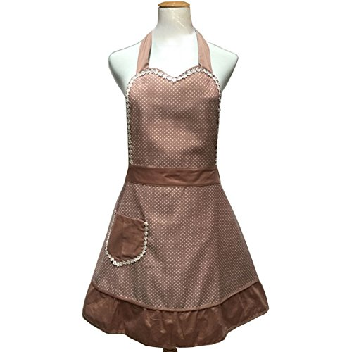 Hyzrz Lovely Sweetheart Retro Kitchen Aprons Woman Girl Cotton Cooking Salon Pinafore Vintage Apron Dress with Pocket,Brown