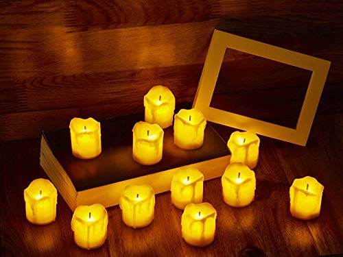 LED Flameless Votive Candles, Realistic Look of Melted Wax, Warm Amber Flickering Light - Battery Operated Candles for Wedding, Valentine's Day, Christmas, Halloween Decorations (12-Pack)]()