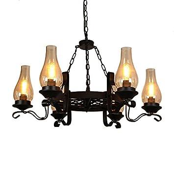 Vintage Antique Black Chandelier Metal Wagon Wheel Chimney Glass Shade 3-Light 6-light Chandelier Lighting Dinning Room 6-Light