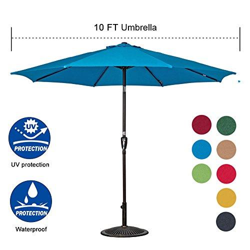 Auto Crank Tilt Outdoor Patio - Sundale Outdoor 10 Feet Outdoor Aluminum Patio Umbrella with Auto Tilt and Crank, 8 Alu. Ribs, 100% Polyester (Turquoise)