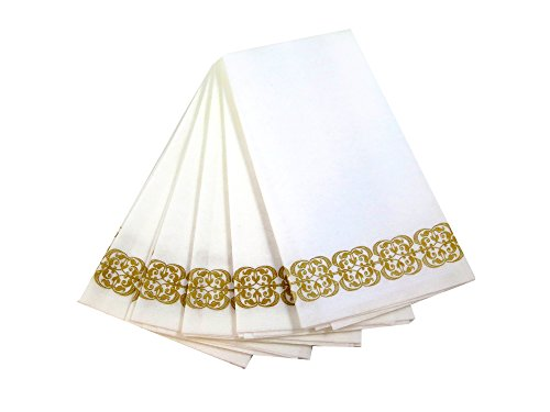 Guest Linen Decorative Hand Napkins (200 Pack, Lace) - Gold and White Fancy Bulk Cloth Like Paper Disposable Bathroom, Dinner, Wedding & Cocktail Party Towels