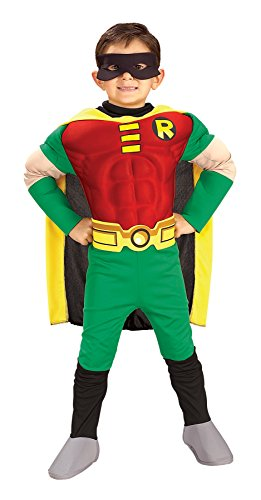 Infant Batman And Robin Costumes (UHC Boy's Dc Comics Batman Robin Muscle Chest Toddler Child Halloween Costume, 2T-4T)