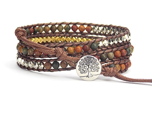 Bracelet Button Beaded - Tree of Life Bracelet Picasso Jasper Beaded Wrap (Silver Plated Button)