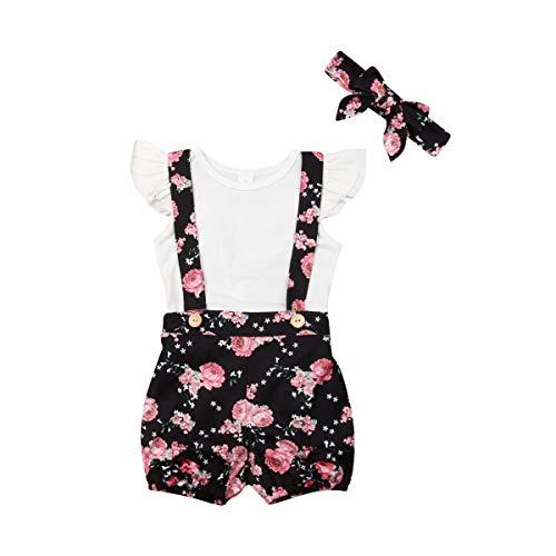 3PCS Infant Toddler Baby Girl Clothes Ruffle Romper Bodysuit Floral Halen Pants Headband Outfits (Z Light White, 12-18 Months)