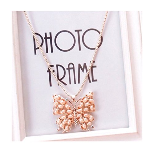 Price comparison product image Gorgeous Jewelry Beauty Pearl Butterfly Hollow Fashion Sweater Chain Female Pendant Necklace