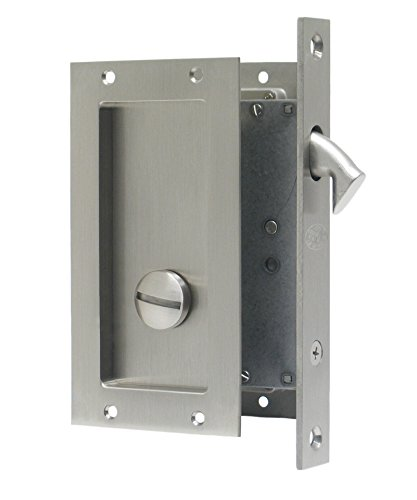 Anacapa by FPL- Solid Brass Modern Pocket Door Mortise Lock Set in Privacy - Bed/Bath Function - Satin Nickel by FPL Door Locks and Hardware Inc. (Image #1)