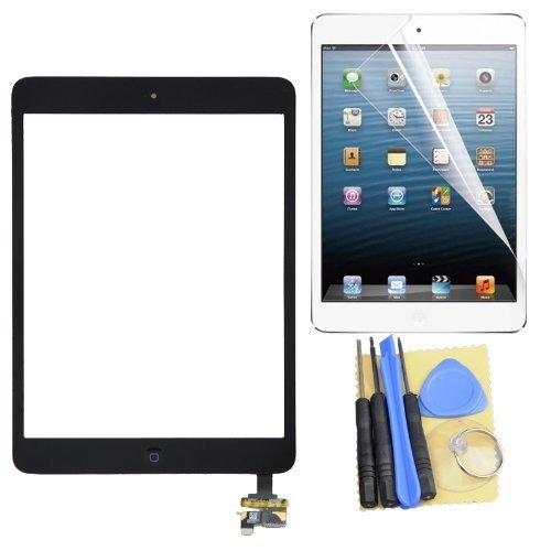 Touch Glass Digitizer Screen IC Connector + Home Button Flex+Protector Assembly for Ipad Mini Black